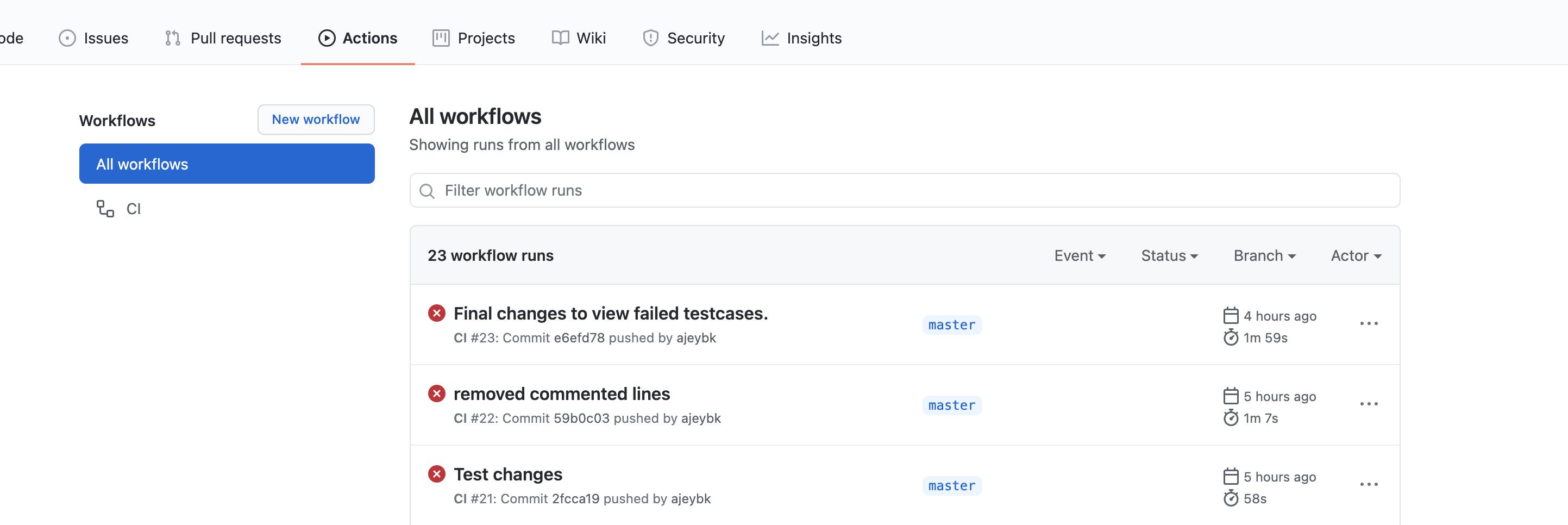 GitHub Actions workflow run