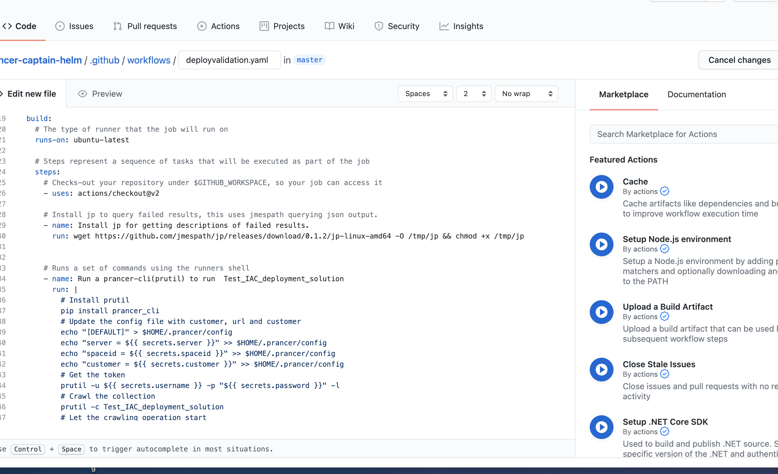 GitHub Actions workflow detail